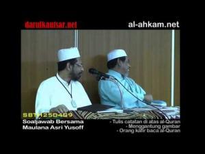 Hukum mencatat di al-Quran, Menggantung al-Quran & Non Muslim Baca al-Quran